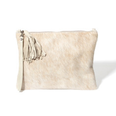Jem Clutch In Cream Calf-hair/leather