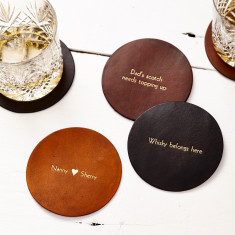 Personalised vintage style leather coaster