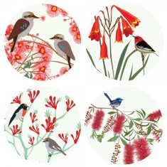 Bloom and birds coasters (set of 4)