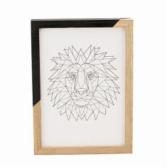 Geometric lion framed print