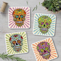 Sugar skull coasters (set of 4)