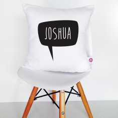 Speech bubble personalised cotton cushion cover (various colours)
