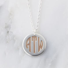 Silver And Rose Gold Deco Monogram Necklace