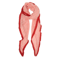 Leaf trim cotton scarf in red