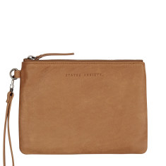 Fixation leather wallet in tan