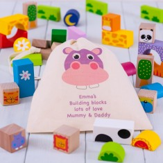 Personalised Safari Animals Wooden Building Blocks with Storage Bag