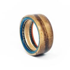Zebra Wood Recycled Skateboard Ring