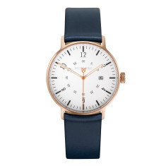 Copper 39mm watch with blue leather band