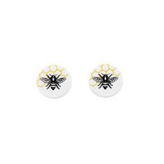 Sterling silver and wood stud earrings in bee