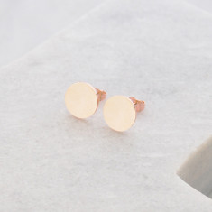 Circle brushed studs in rose gold