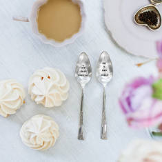Personalised vintage silver plated teaspoon set