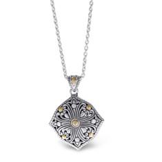 Zahara Sterling Silver and 18K Gold Filigree Shield Pendant