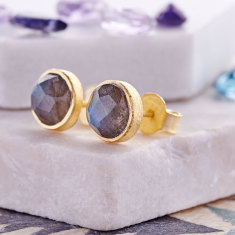 Cupcake Stud Earrings In Gold Plate With Labradorite