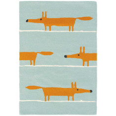 Scion Mr Fox Wool Rug In Aqua