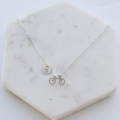 Personalised Cycling necklace in silver