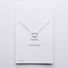 Family silver heart necklace