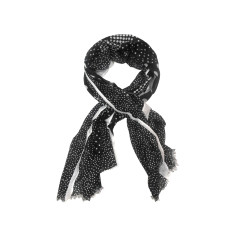 My Softest Cotton Scarf: Black & White Polka