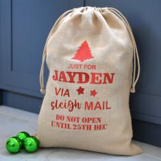 Personalised Metallic Glitter Hessian Christmas Sack