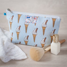 Ice cream on Graph Paper Makeup Toiletry Wash Bag
