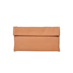 Small Leather Clutch Bag in Caramel
