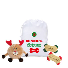 Personalised Christmas pet hamper for dogs (in Chocolate or Vanilla Coloured Reindeer)