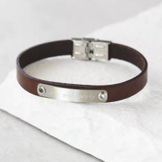 Men's Personalised ID Leather Bracelet