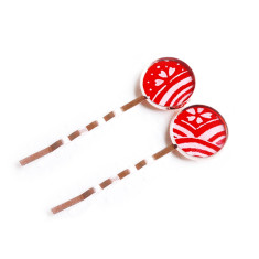 Rose gold Japanese chiyogami bobby pins in red