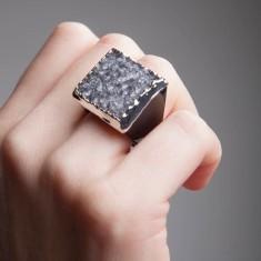 Black Hand Carved Druzy Ring