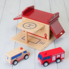 Wooden Click And Clack Fire Station Playset