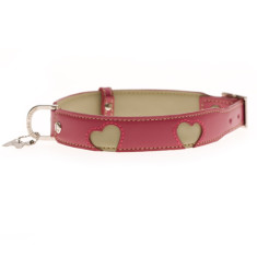 Hearts dog collar in pink