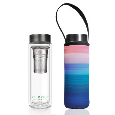 Glass is greener double walled tea flask 500ml with peace print carry cover