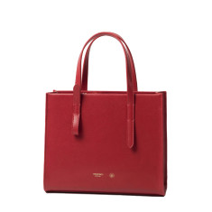 Red Leather Shoulder Bag And Office Purse
