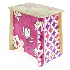 Seat/side table with Magnolia print