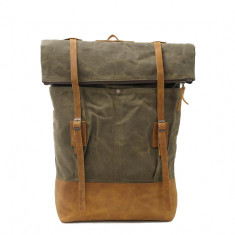 Canvas Leather laptop backpack hipster travel backpack in green