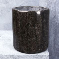 Natural Marble Canister Or Planter in Black with Grey