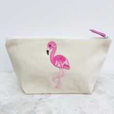 Flamingo motif canvas zip pouch makeup bag
