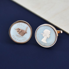 Farthing 60th Rose Gold Enamel Coin Cufflinks