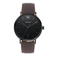 Versa 40 Watch In Black with Brown Band