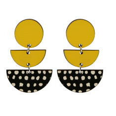 Three tiered spot earrings in yellow
