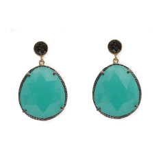 Aqua Calci Onyx and Natural Uncut Diamond Earrings