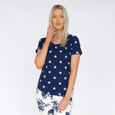 Star Indigo & White Cotton Tee