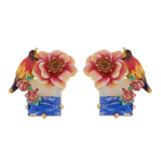 Multicolour Bird and Pink Flower on Stone Earrings