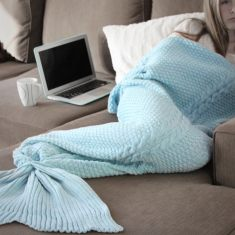 Luxe Adult Mermaid Tail Blanket in Duck Egg Blue