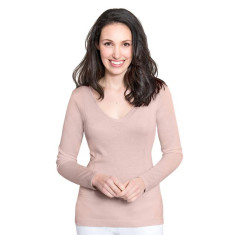 Silk Cashmere V Neck Sweater with Pointelle Detail - Pecan