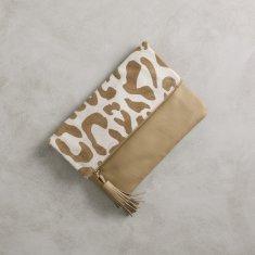 Oversized clutch in almond big leopard