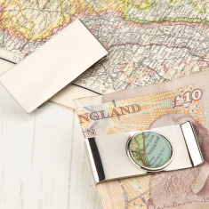 Personalised map money clip