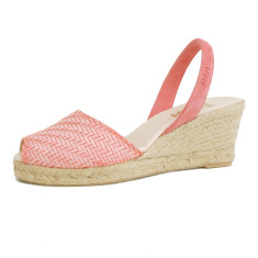 Morena braided leather sandals in coral