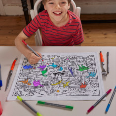 Dinosaur colour-in placemat in cotton carry-bag, with wash-out pens included