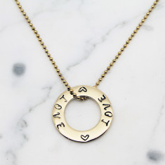 Small Circle of love 9ct gold necklace