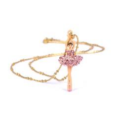 Pink sparkling ballerina necklace